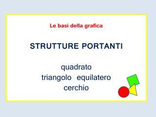 Le basi della grafica STRUTTURE PORTANTI quadrato triangolo equilatero cerchio