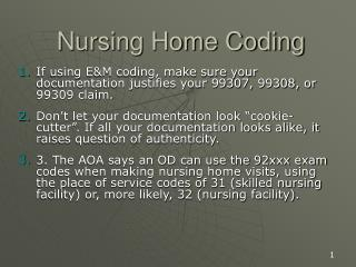 Nursing Home Coding