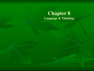 Chapter 8 Language & Thinking