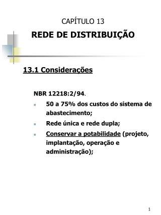 CAPÍTULO 13 REDE DE DISTRIBUIÇÃO