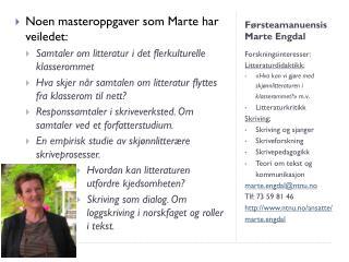 Førsteamanuensis Marte  Engdal