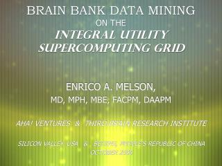 BRAIN BANK DATA MINING ON THE INTEGRAL UTILITY SUPERCOMPUTING GRID