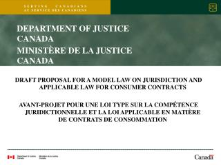 DRAFT PROPOSAL FOR A MODEL LAW ON JURISDICTION AND APPLICABLE LAW FOR CONSUMER CONTRACTS