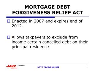 MORTGAGE DEBT FORGIVENESS RELIEF ACT