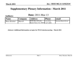 Supplementary Plenary Information - March 2011