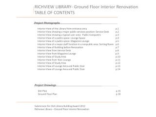 RICHVIEW LIBRARY- Ground Floor Interior Renovation TABLE OF CONTENTS