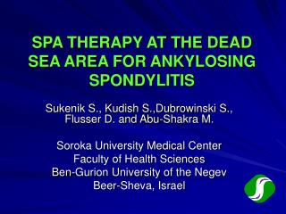 SPA THERAPY AT THE DEAD SEA AREA FOR ANKYLOSING SPONDYLITIS
