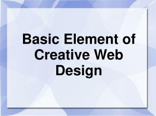 Basic Element of Creative Web Design