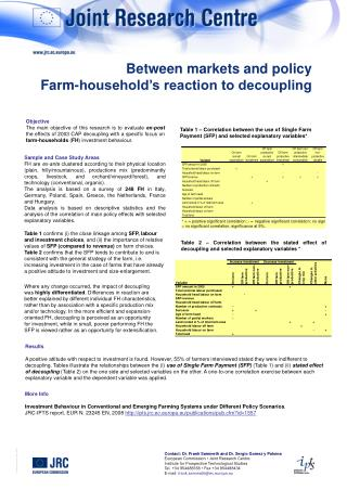 Between markets and policy Farm-household's reaction to decoupling