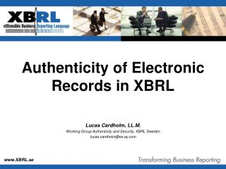 Authenticity of Electronic Records in XBRL