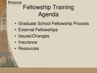 Fellowship Training Agenda