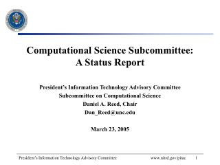 Computational Science Subcommittee: A Status Report
