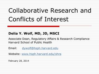 Collaborative Research and Conflicts of Interest