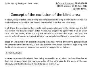 Concept of the exclusion of the blind area