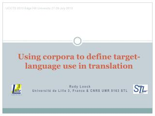 Using corpora to define target-language use in translation