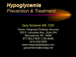 Hypoglycemia  Prevention  Treatment