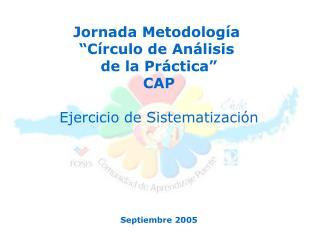 """Jornada Metodología  """"Círculo de Análisis  de la Práctica"""" CAP Ejercicio de Sistematización"""