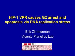 HIV-1 VPR causes G2 arrest and apoptosis via DNA replication stress