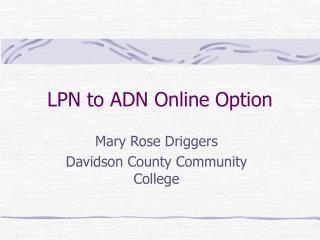 LPN to ADN Online Option