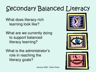 Secondary Balanced Literacy