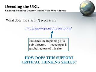 Decoding the URL Uniform Resource Locator/World Wide Web Address