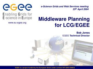 Middleware Planning for LCG/EGEE Bob Jones EGEE  Technical Director