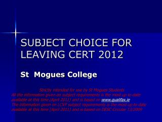 SUBJECT CHOICE FOR LEAVING CERT 2012