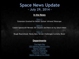 Space News Update -  July 29, 2014  -