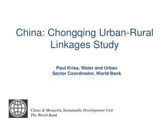 China: Chongqing Urban-Rural Linkages Study
