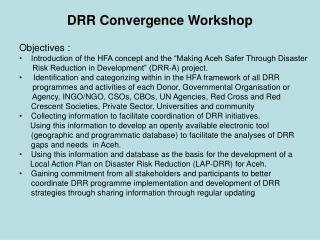 DRR Convergence Workshop