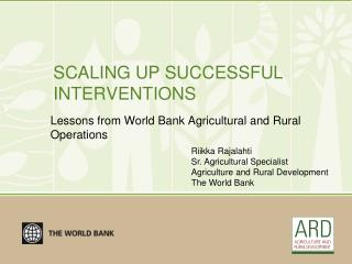SCALING UP SUCCESSFUL INTERVENTIONS