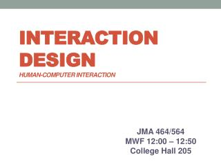 Interaction Design Human-computer Interaction