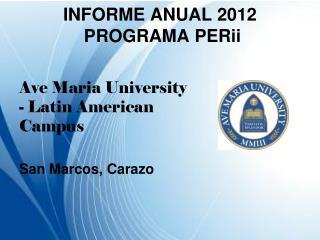 INFORME  ANUAL 2012   PROGRAMA  PERii
