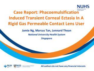 Jamie Ng, Marcus Tan, Lennard Thean National University Health System Singapore