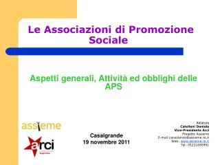 Le Associazioni di Promozione Sociale