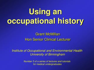 Using an occupational history