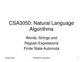 CSA3050: Natural Language Algorithms