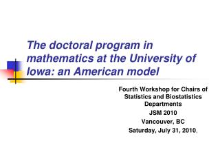 The doctoral program in mathematics at the University of Iowa: an American model