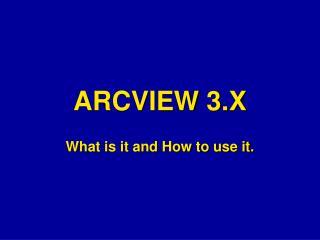 ARCVIEW 3.X