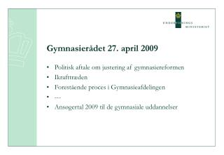 Gymnasierådet 27. april 2009