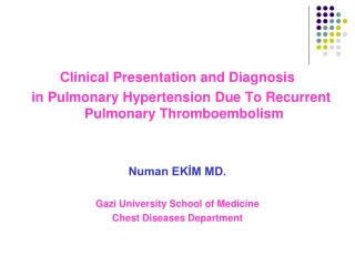 Clinical Presentation and Diagnosis