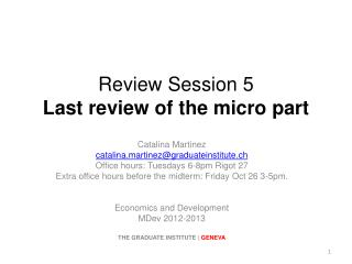 Review Session  5 Last review of the micro part