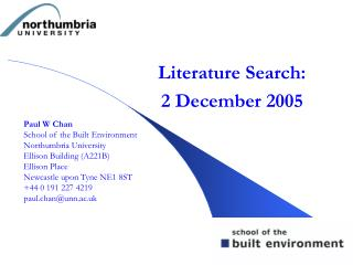 Literature Search: 2 December 2005