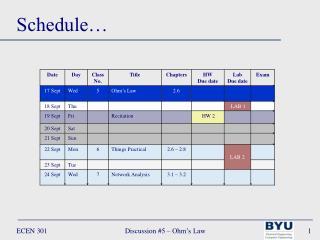 Schedule�