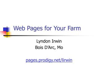 Web Pages for Your Farm