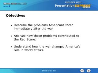 Describe the problems Americans faced immediately after the war.