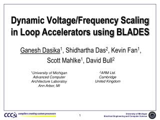Dynamic Voltage/Frequency Scaling  in Loop  Accelerators using  BLADES