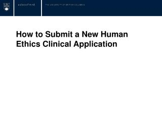 How to Submit a New Human Ethics Clinical Application