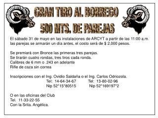 GRAN TIRO AL BORREGO  500 MTS. DE PAREJAS