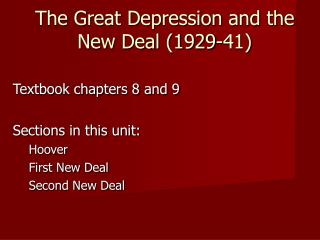 The Great Depression and the New Deal (1929-41)